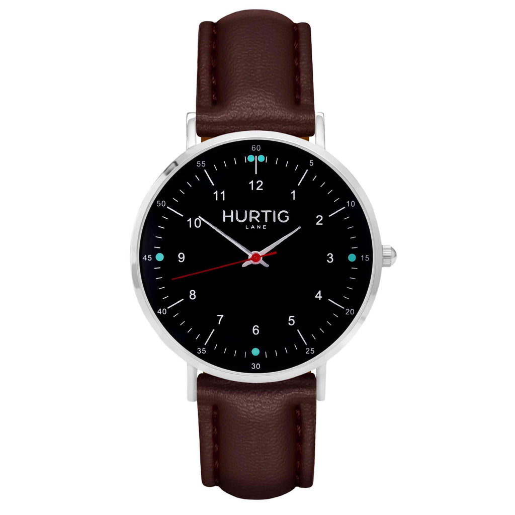 hurtig lane vegan leather watch silver,  black & dark brown vegane uhren
