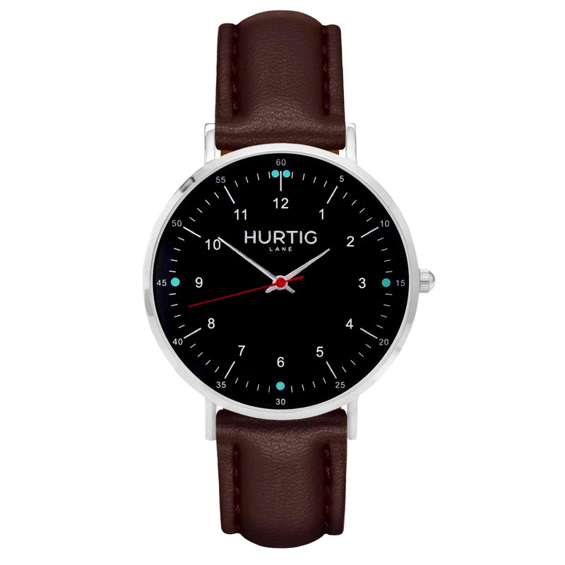 Moderna Vegan Leather Watch Silver, Black & Chestnut Watch Hurtig Lane Vegan Watches