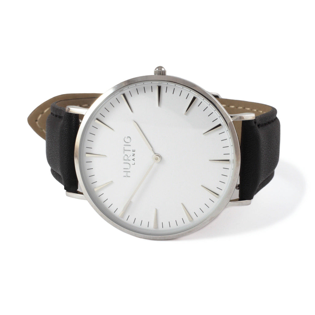 Mykonos Vegan Leather Silver/White/Black - hurtig-lane-vegan-watches