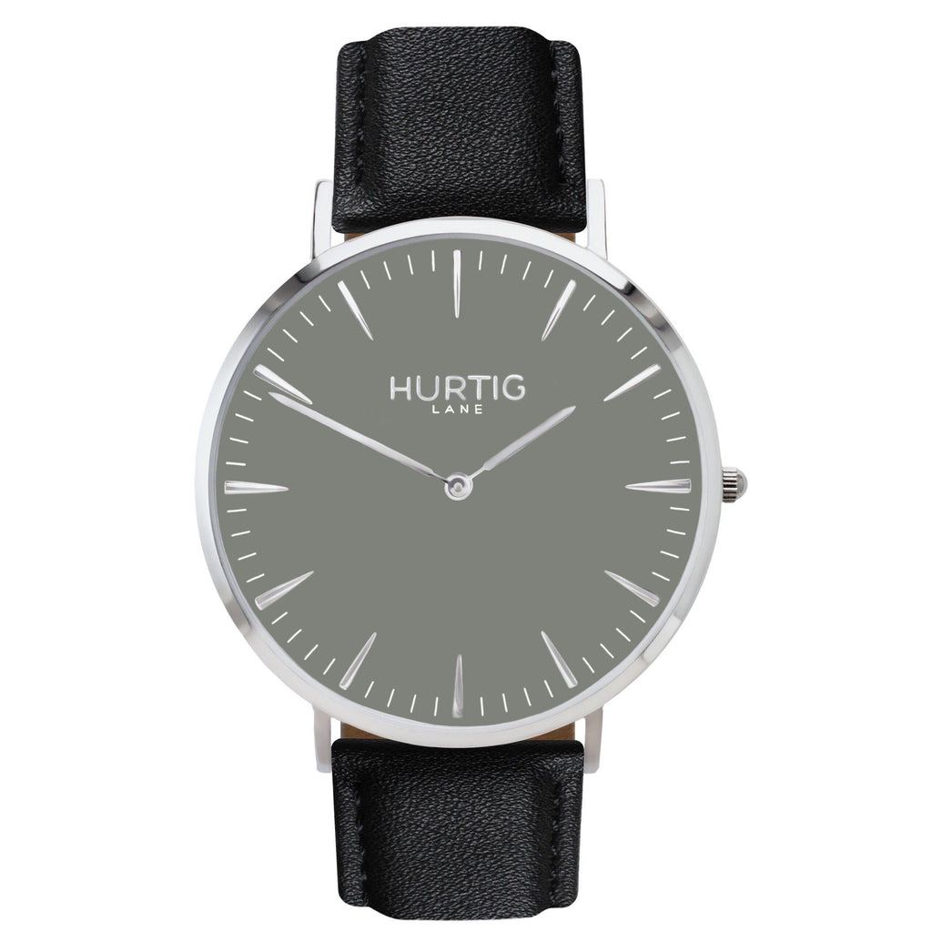 Mykonos Vegan Leather Silver/Grey/Black Watch Hurtig Lane Vegan Watches