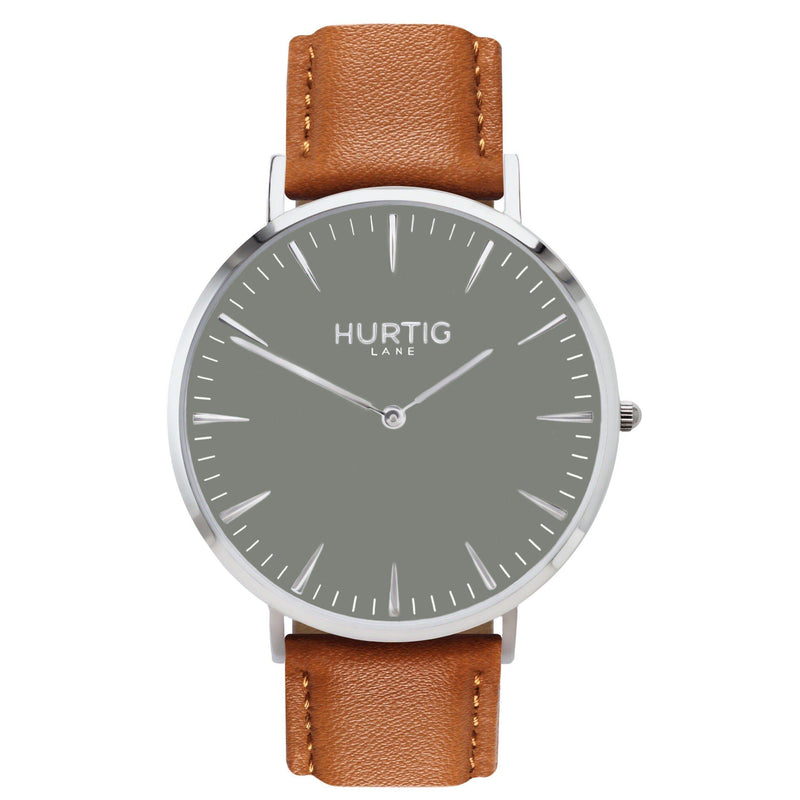 Mykonos Vegan Leather Silver/Grey/Tan Watch Hurtig Lane Vegan Watches