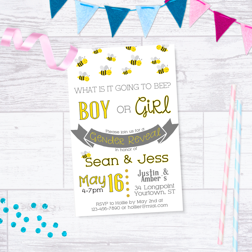 Gender Reveal Invite - bee - What will it Bee? - Yellow & Gray