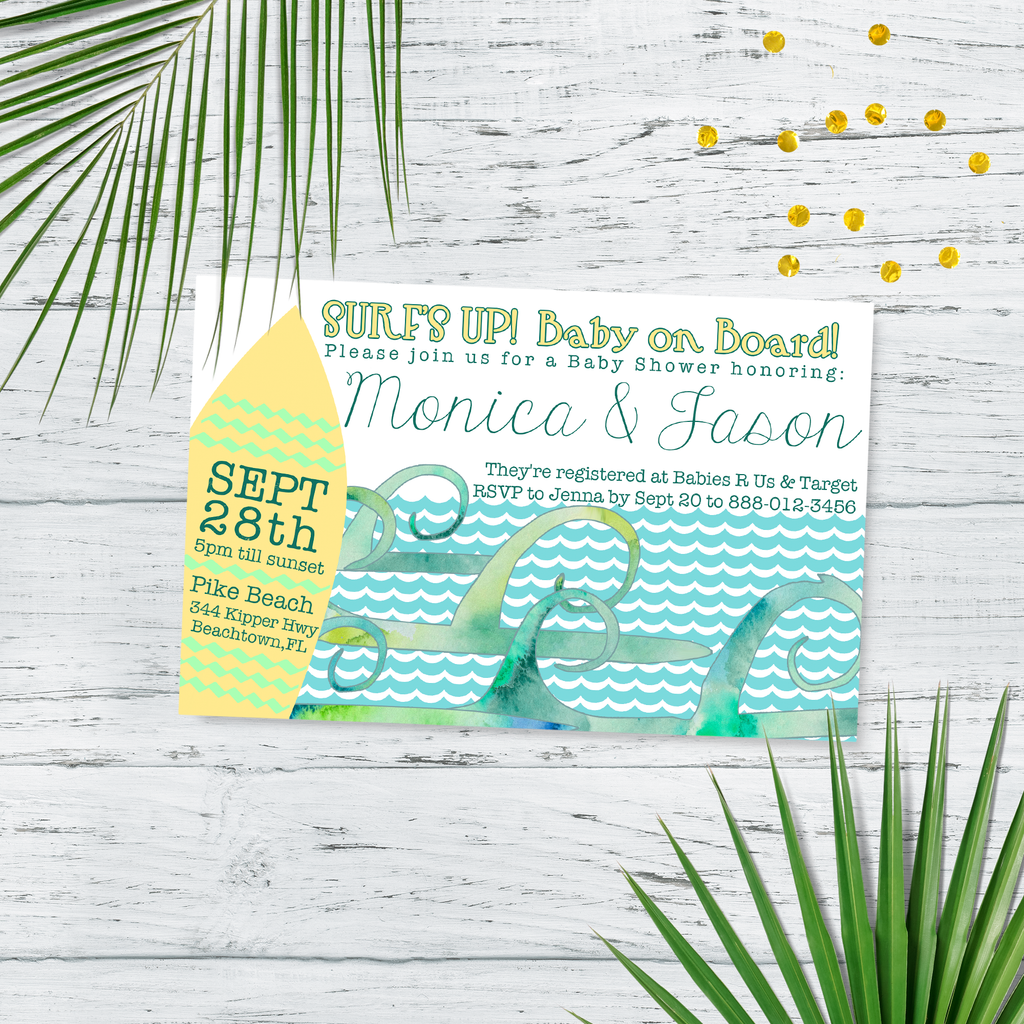 Baby Shower Invite - Surfboard & Waves (Watercolor)