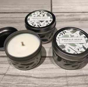 Emerald Agave Soy Wax Candles in small silver tin