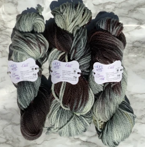 hand-dyed black & gray yarn in various weights