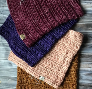 crochet cowls in a multiple colors with luxury handdyed yarns