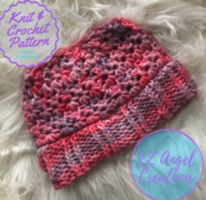 Starlight Zoie Hat pattern, crochet hat with knit brim