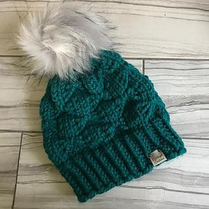 Anorak Beanie, hand knit with bulky yarn and fluffy pom