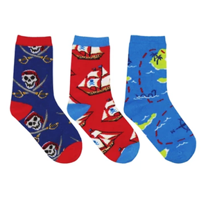 A Pirate's Life - Kid's 3-Pack crew socks (7-10 yrs)
