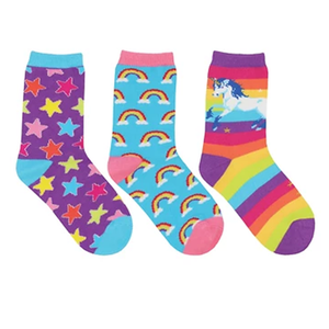 Kids Sparkle Party 3-Pack crew socks (7-10 yrs)