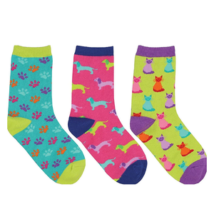 Kids Paws & Claws 3-Pack crew socks (7-10 yrs)