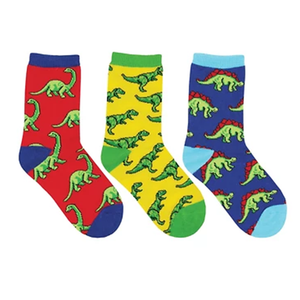 Kids Dino-Mite 3-Pack crew socks (7-10 yrs)