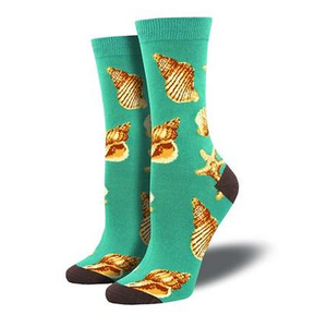 Sea Shells  - Ladies Bamboo Crew socks