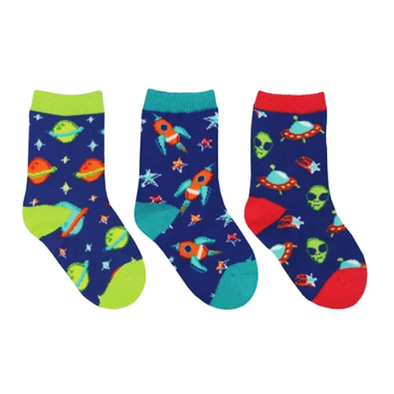 To The Moon - Kid's 3-Pack crew socks (6-24 meses)
