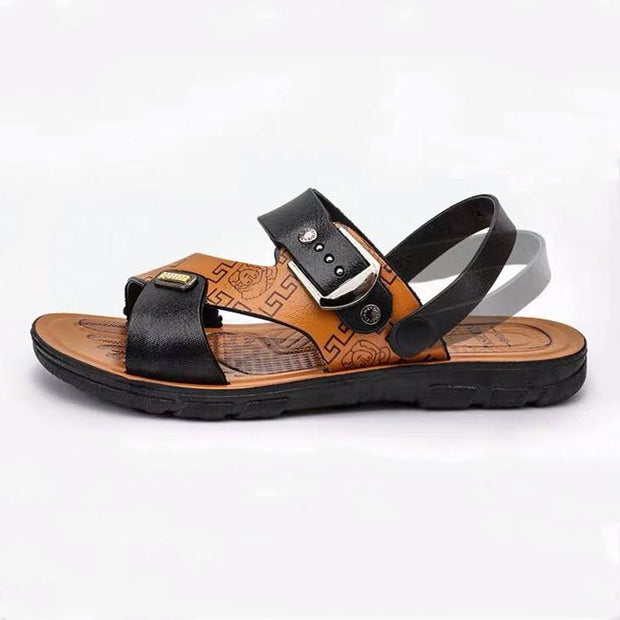 Men's Open Toe Slippers with Adjustable Strap Buckle
