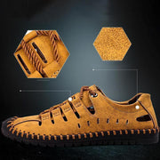 Men Stitching Microfiber Leather Hollow Out Casual Flat Sandals