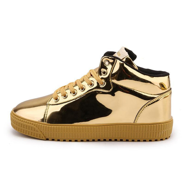 Women's Leather High-top Bright Mirror Shoes