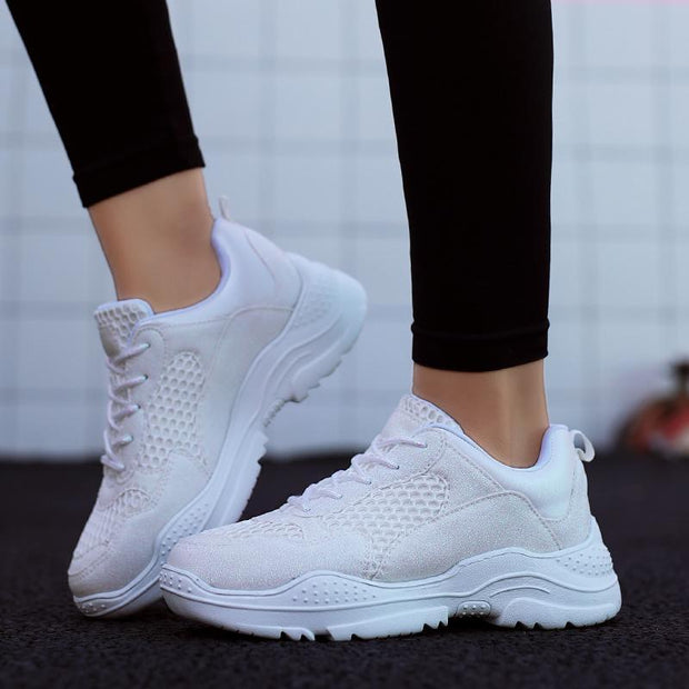 Women's Fashion Breathable Light-weight Thick Bottom Mesh Shoes