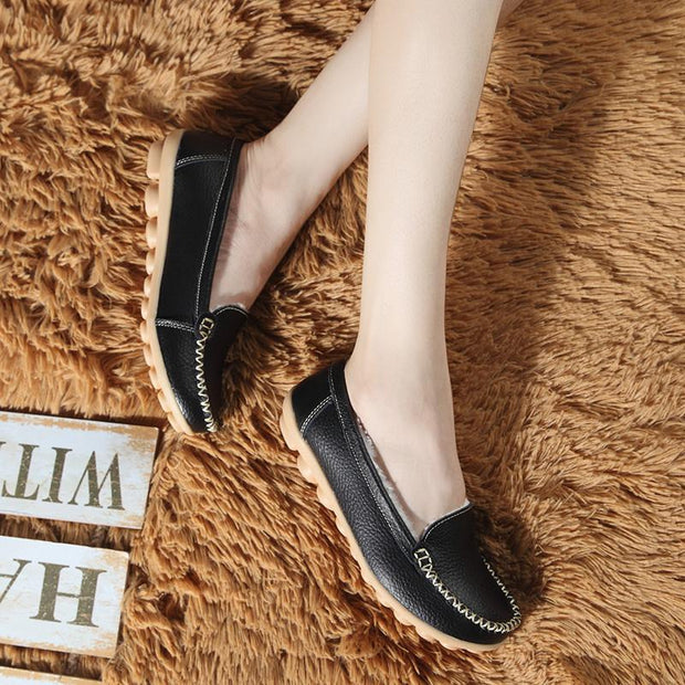 Women Winter Plush Cow Leather Warm Moccasins Loafers