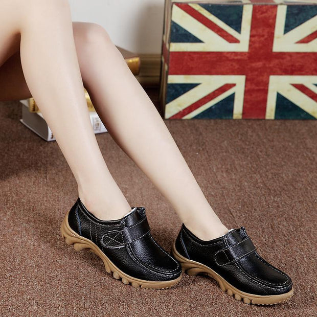 Women's Genuine Leather Warm Winter Sewing Loafers