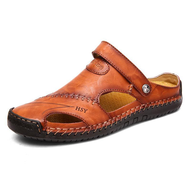 7e042841f Men s Large Size Leather Hand Stitching Soft Toe Protective Sandals ...
