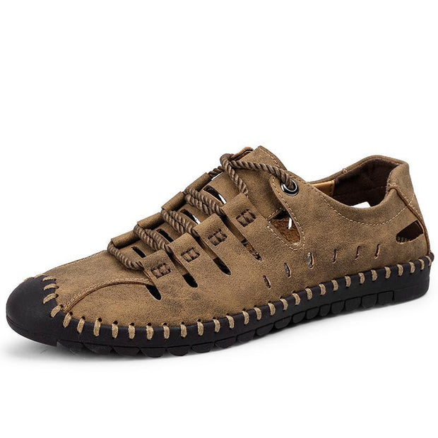 Men's Breathable Leather Large Size Stitching Hollow Out Water Shoes