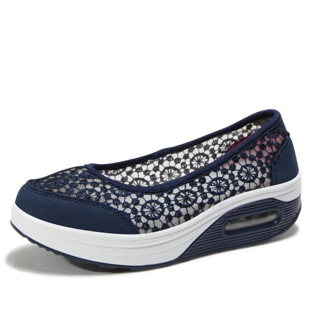 Women's Fashion Lace Platform Breathable Slip-on Shoes