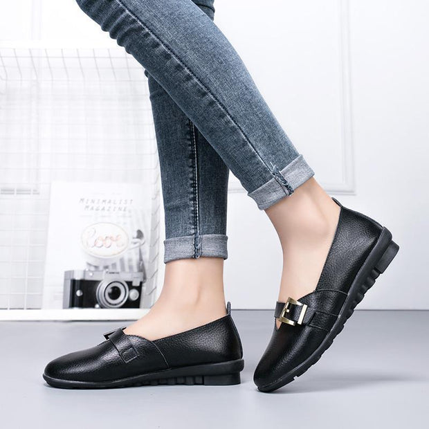 Women's leather casual peas shoes 118439