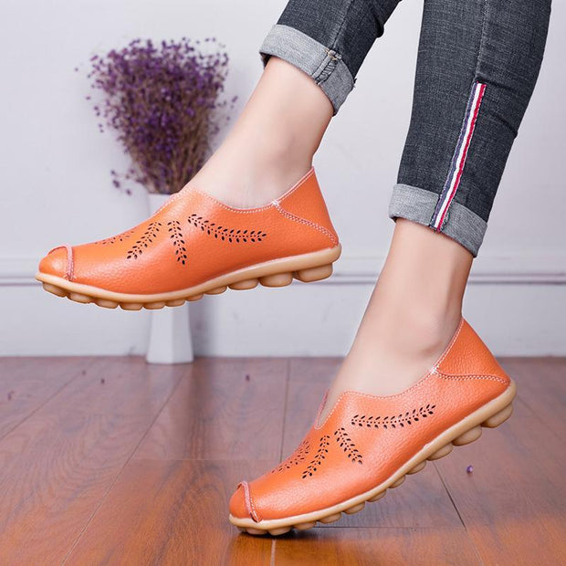 Women's Genuine Leather Soft Fashion Peas Flat Shoes