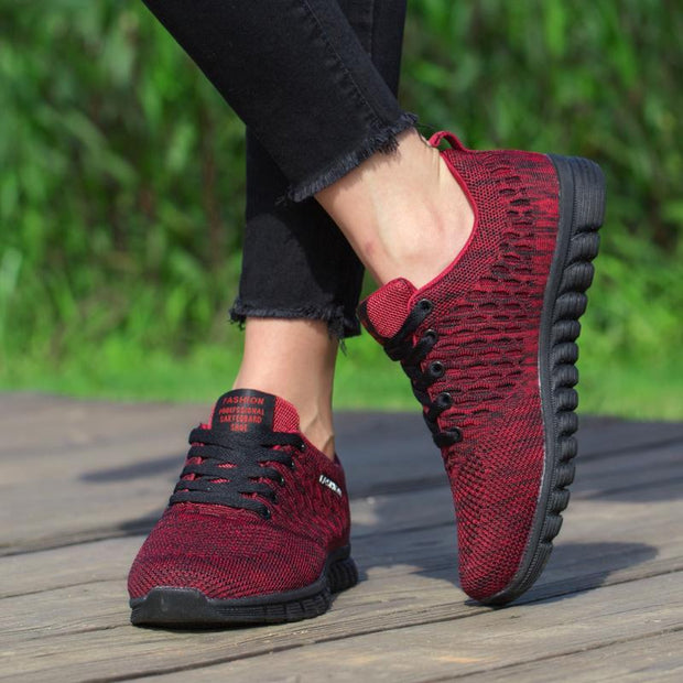 Women's Breathable Large Size Flying Woven Mesh Shoes