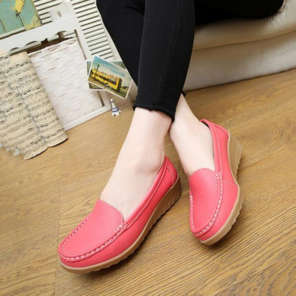 Women's  Soft and Suitable Cowhide Leather Walking Slip-On Wedge Loafers
