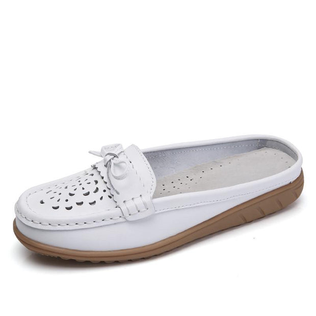 Women's Fashion Half Strape Breathable Bow Leather Large Size Slippers