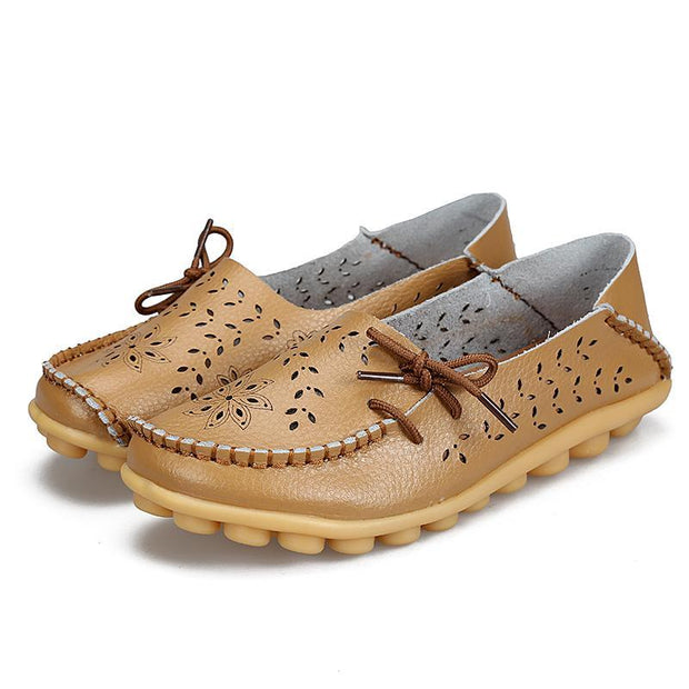 Women's Soft Cow Leather Hollow Non-slip Rubber Loafers