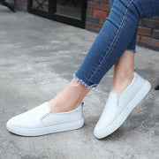 Women Leather Loafers Platform Light Breathable  Woman Slip on Boat Shoes