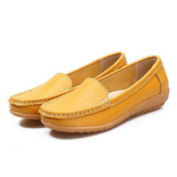 Women Loafers Cow Leather Rubber Buttom Slip-On Ladies Loafers