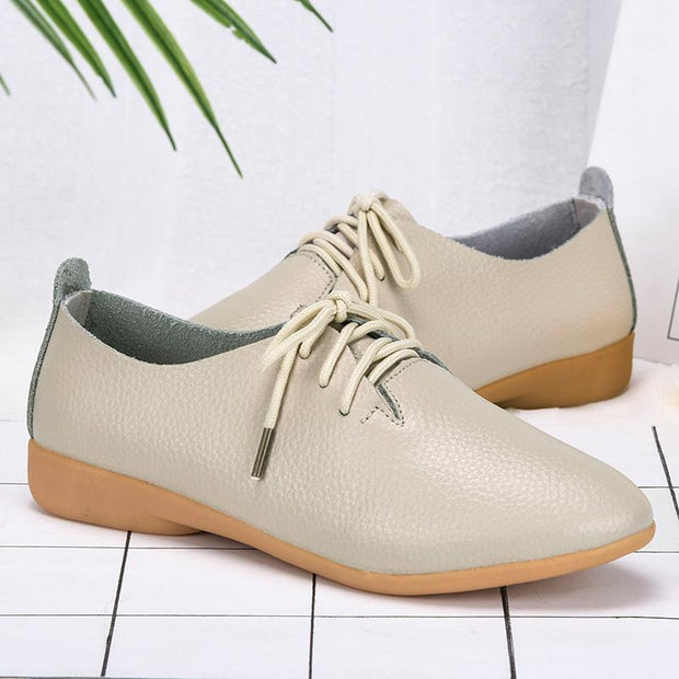 Women's Cowhide Tie Soft Breathable Casual Loafers