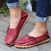 Women's Rubber Cowhide Leather Loafers