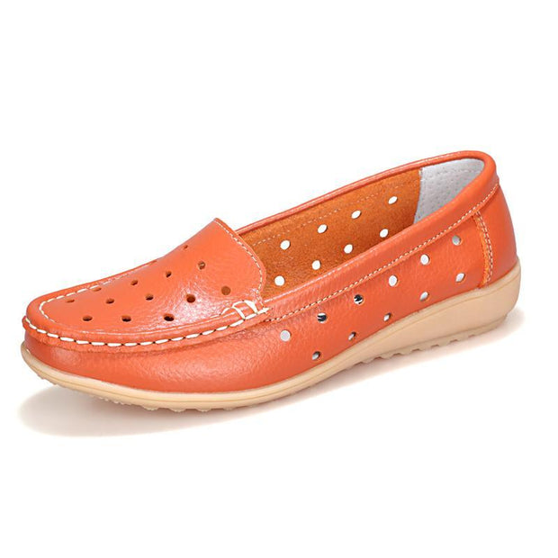 Women's Spring High Quality Leather Hollow Shoes