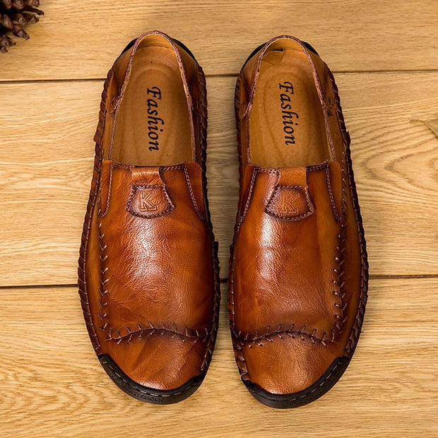 Men's Hand Stitching Non-slip Soft Leather Loafers(Use Code:PY10 Get Extra 10% Off)