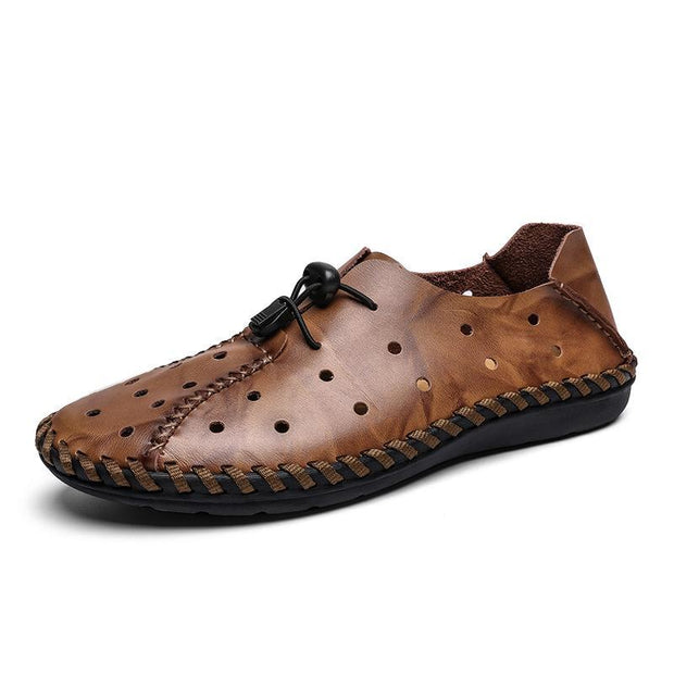 Men's Hand Stitching Leather Hole Breathable Collapsible Heel Casual Flats