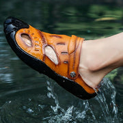 Men's Leather Anti-skid Hollow Sandals