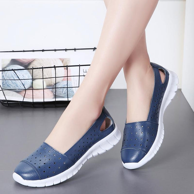 Women's Spring And Summer New Hollow Single Leather Loafers