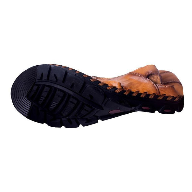 Men's Hand Stitching Hole Carved Soft Leather Sandals