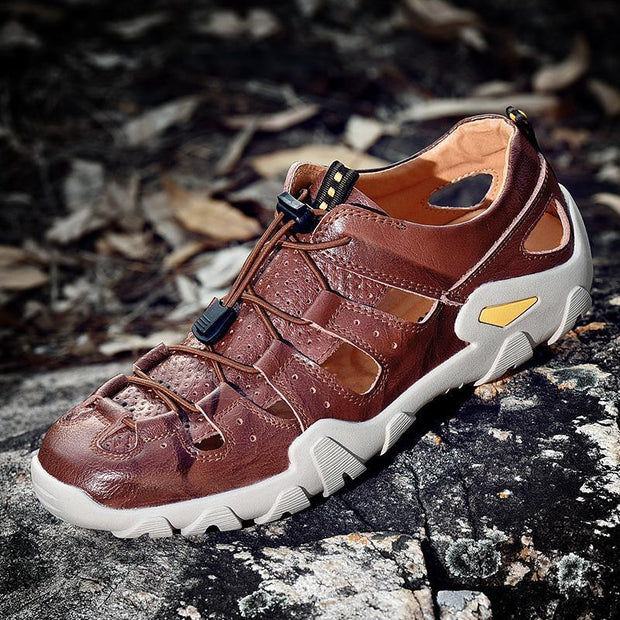 Men's Metal Button Breathable Non-slip Hiking Sneakers
