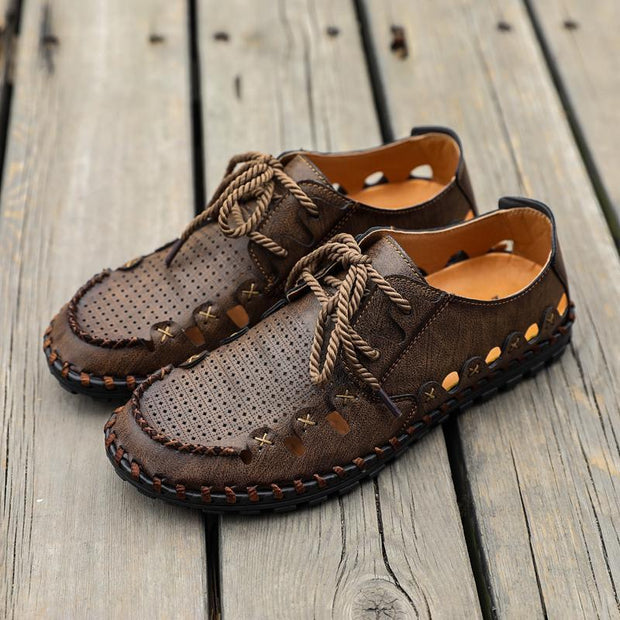 Men Microfiber Leather Hollow Out Outdoor Slip Resistant Sandals