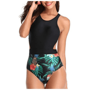 Women one Piece Tropical Printed High Neck Swimwear Cut Out Zip Up Backless Monokini  129793