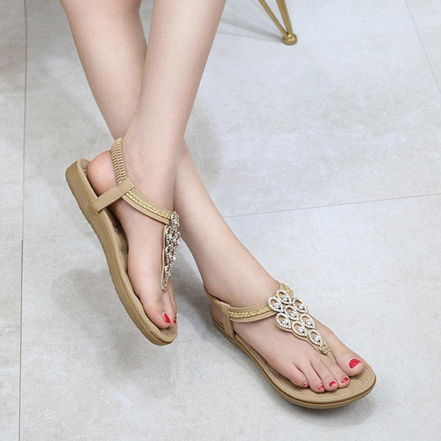 Women Peacock Feather Rhinestone Clip Toe Flat Casual Sandals 131050