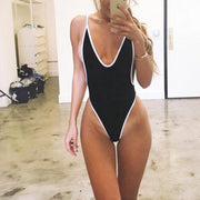 Women Summer Fashion Beach Contrast Color Swimsuit Backless One Piece 131932