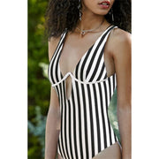 Women Summer Beach One Piece Sexy Striped Swimsuit 129806