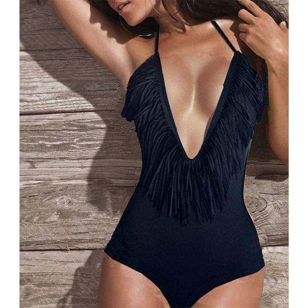 Women Summer Fashion Sexy Bikini Solid Color Beach One Piece 129978